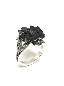 Magnifique-bague-en-argent-look-art-deco-onyx-rubis-et-marcassites