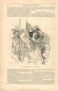 Guerrier-Militaire-Honneurs-de-la-Guerre-la-Taverne-par-Gavarni-GRAVURE-1849