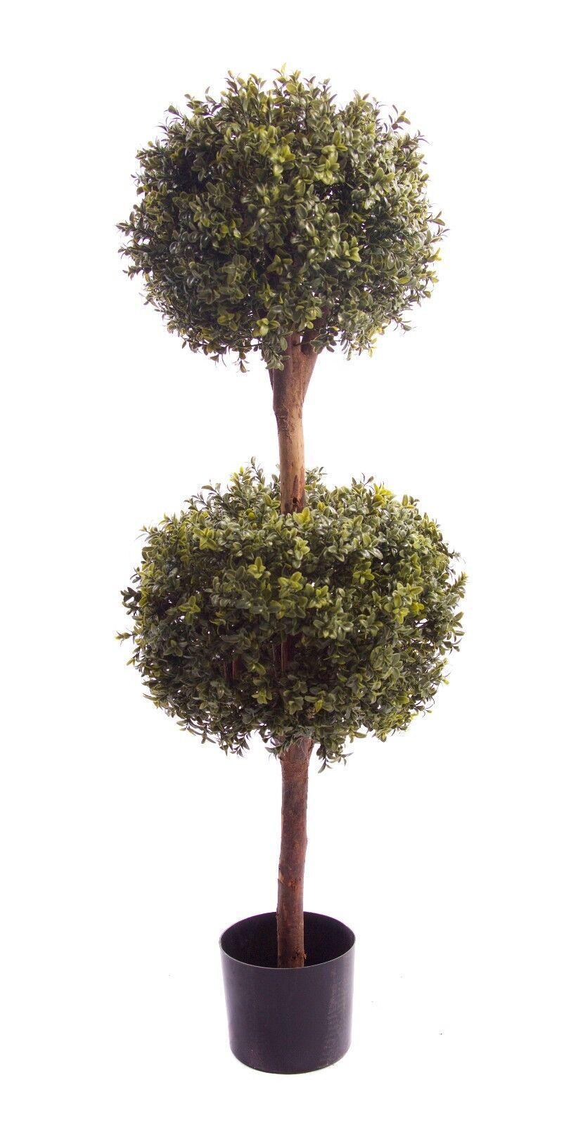 Migliore Artificiale Aspetto Naturale 4ft 120cm Bosso Arte Topiaria doppia palla albero di legno