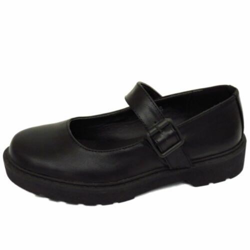 Niñas Niños Childrens Hebilla T-Bar Negro Escuela Bombas Zapatos Planos Dolly inteligente 10-5