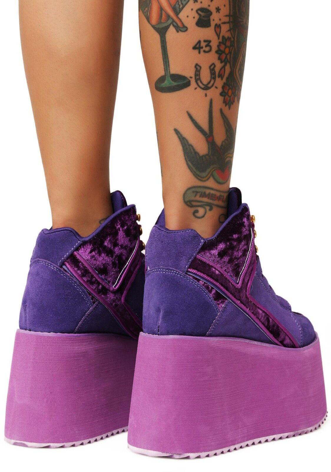 YRU Qozmo High Top 2 púrpura Gótico Velvet Gamuza Rave Gótico púrpura Punk Zapatos Zapatillas De Plataformas 4b99ba