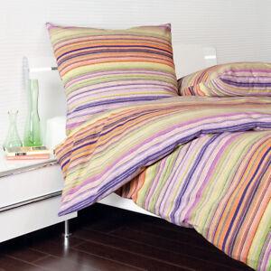 janine biber flanell bettw sche 65011 04 streifen lila gr n flieder 135x200 cm ebay. Black Bedroom Furniture Sets. Home Design Ideas