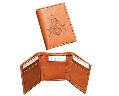 Compass /& Square Cut Out Mens Leather Wallet BLACK or BROWN Masonic Gift