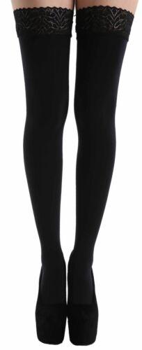 XXL Plus Size 80 Denier Womens Lace Top Black Coloured Hold Ups Sizes XL