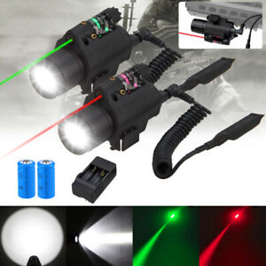 Tactical Combo Green RED Laser Sight LED Flashlight Picatinny Rail 20MM Hunting