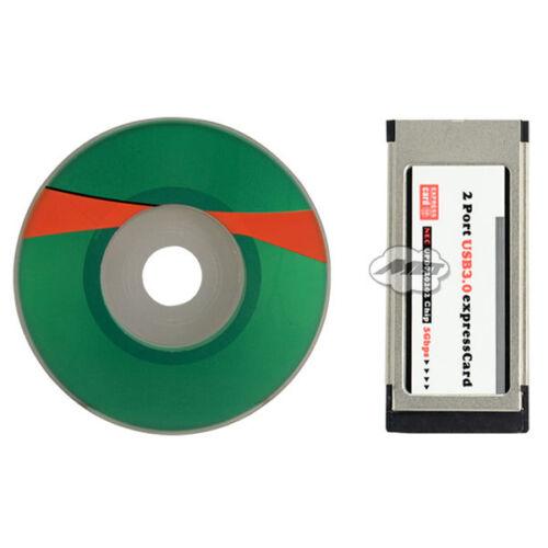 2 Port USB 3.0 Express Card ExpressCard 34mm Hidden Adapter For PC Laptop