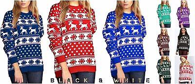 Praktisch Christmas Xmas Ladies Mens Unisex Jumper Sweater Reindeer All Over Snowflakes SchnäPpchenverkauf Zum Jahresende