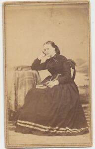 1860s-Civil-War-Tax-Stamp-CDV-Photo-Pretty-Lady-Holding-Photo-Album-Ogdensburgh