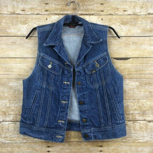 Vintage 70s Ms Lee Womens Vest Denim Trucker Jean