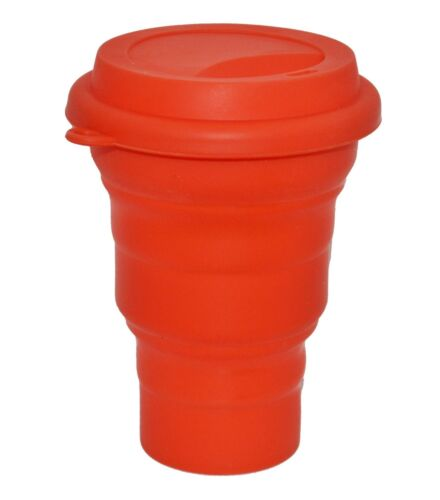LevelOne Collapsible Travel Silicone Camping Cup 16oz BPA Free Red
