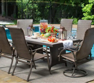Outdoor Dining Table Large All Weather Resin Wicker Brown Rectangle Wood Top New Ebay