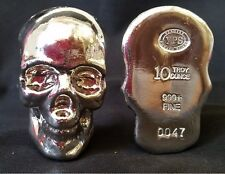 "10 ozt YPS 3D 999 Fine Solid Silver SKULL ""Yeager's Poured Silver"" Hand poured"