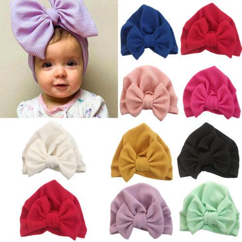 US/_ Headwrap Solid Kids Baby Elastic Turban Bowknot Newborn Beanie Hat Cap Novel