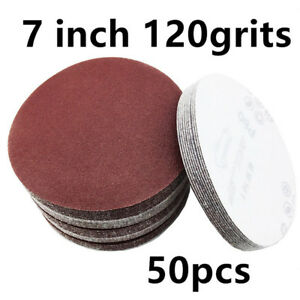 MéThodique 50 Pack Sandpaper 7-inch 120 Grits Hook And Loop Sanding Discs Aluminum Oxide