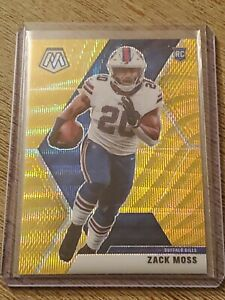 2020 Panini Mosaic Football Gold Wave Tmall Prizm Zack Moss #06/17 Bills RC