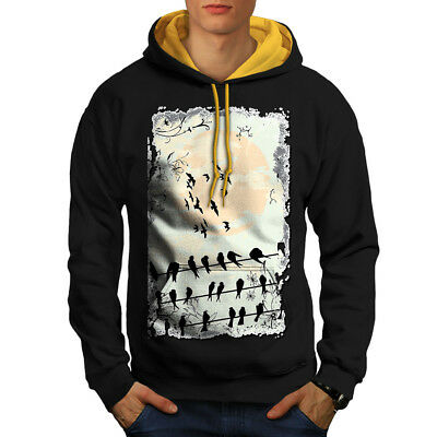 MüHsam Wellcoda Bird Crow Raven Nature Mens Contrast Hoodie, Crow Casual Jumper Verschiedene Stile
