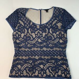 Ann-Taylor-Womens-Blouse-Blue-Floral-Short-Sleeve-Scoop-Neck-Lace-Overlay-Top-S