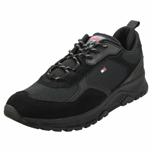 Tommy Hilfiger Fashion Mix Sneaker Mens Black Suede /& Textile Fashion Trainers