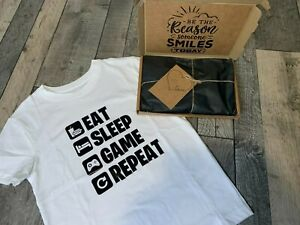 NEW EAT SLEEP GAME REPEAT CHILDREN'S T SHIRT AVAILABLE IN SIZE 3/4 TO 12 YEARS