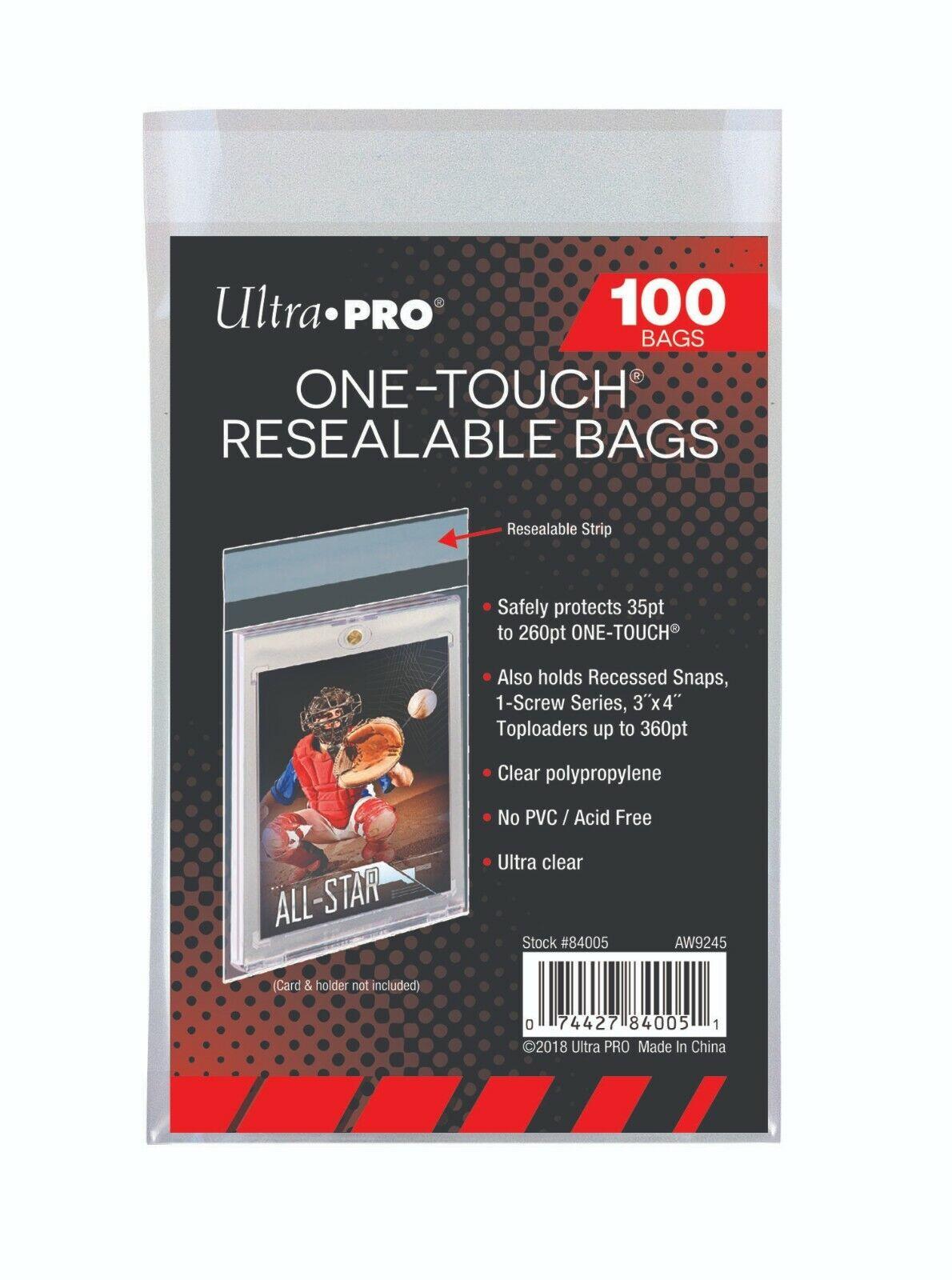 200 bolsas resellable Ultra Pro ONE Touch Nuevo Tornillo Toploader manga de tarjeta magnética