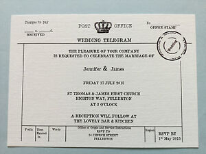 Image Is Loading 10 X PERSONALISED VINTAGE TELEGRAM WEDDING INVITATIONS RSVP