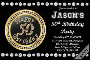 Details About 10 X Personalised 50th MEN WOMEN Birthday Party Invitations Invites Envelopes
