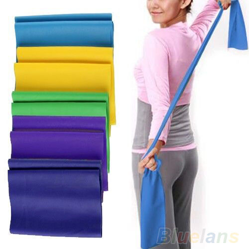 Elastic Yoga Pilates Rubber Stretch Resistance Exercise Fitness Band Belt BE4A