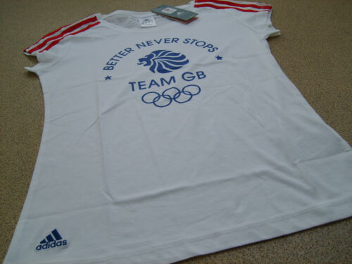 adidas Olympics LONDON 2012 m GB 3 Stripe Ladies T Shirt White