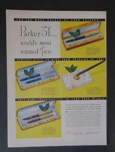 Original-Print-Ad-1948-PARKER-51-World-039-s-Most-Wanted-Pen-Vintage-Art