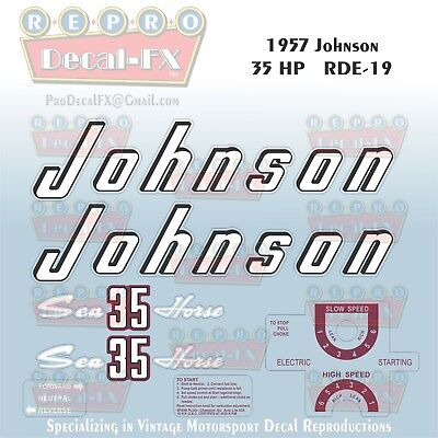 1957 Johnson 35 HP RD-19 Sea Horse Outboard Reproduction Decals 7Pc Marine Vinyl
