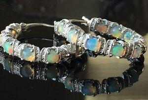 b48e4a9f4b9d3 Details about Gemstone Diamond Cut Inside Out Hoop Earrings, Opal Sterling  Silver Brand New