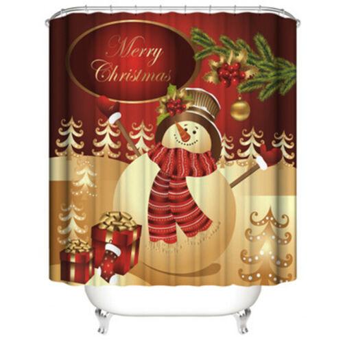Christmas Shower Curtain Bathroom Rugs Bath Mat Non-Slip Toilet Lid Cover Snow