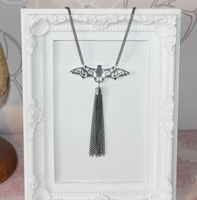 Gothic Halloween long bat necklace with chain tassel