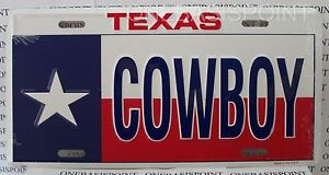 Texas-Flag-Cowboy-License-Plate-Aluminum-Lone-Star-Embossed-Sign-Car-Tag-Auto
