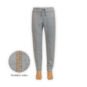 Girls-Comfort-Soft-Sweatpants-Studded-Sides-Joggers-Tracksuit-Jogging-Bottoms