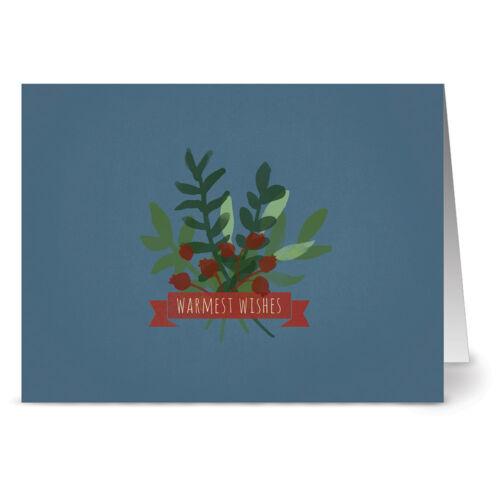 24 Holiday Note Cards - Warmest Wishes Mistletoe - Kraft Envs