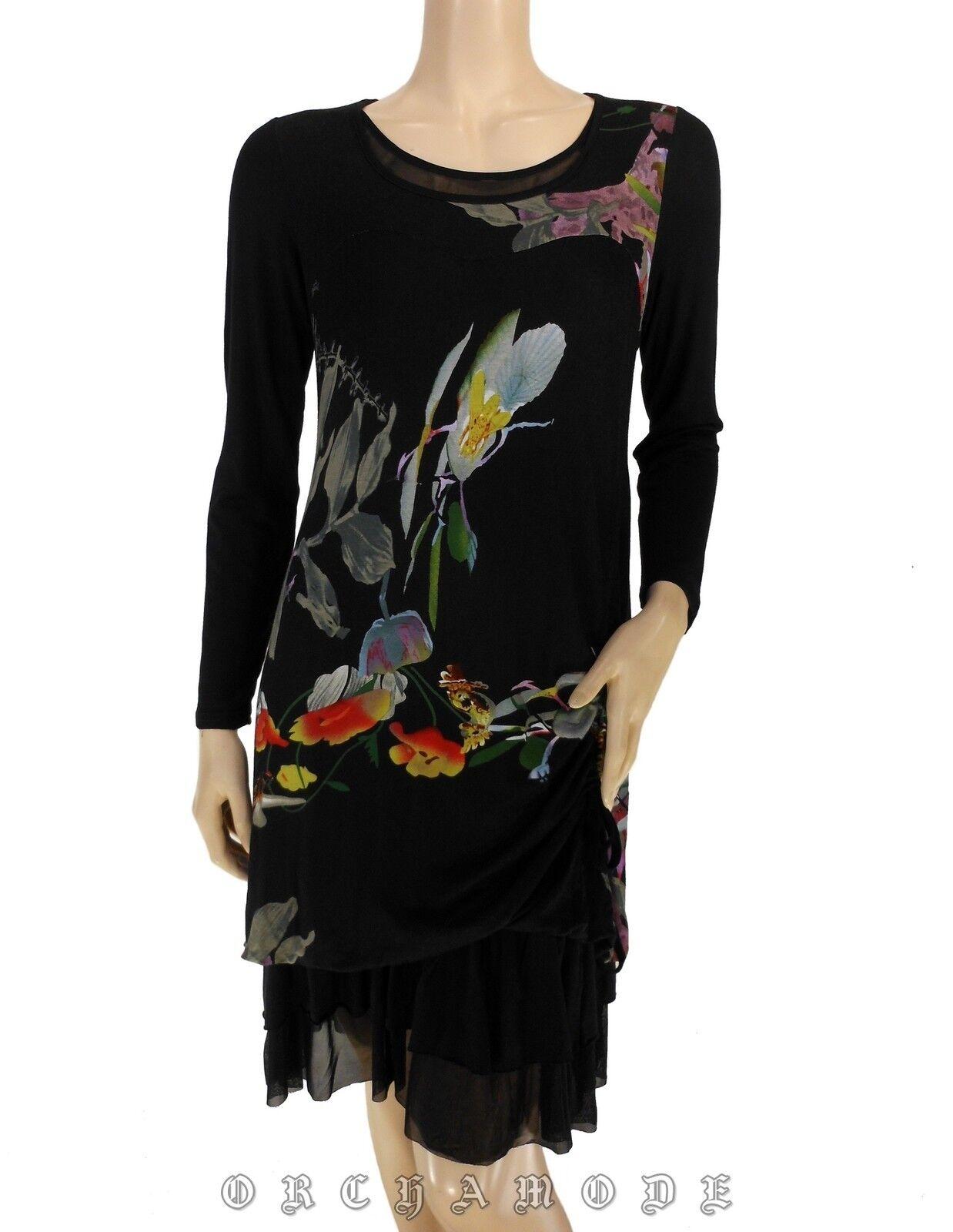 Robe ELLEA T 38 M 2 Floral Volant Manche Doublé Tunique NEUF Dress Kleid Vestido