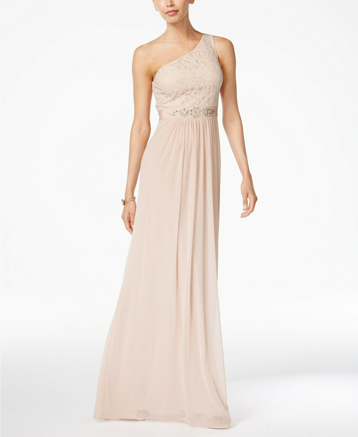 515 ADRIANNA PAPELL WOMEN'S PINK BEADED LACE ONE-SHOULDER FORMAL DRESS SIZE 12
