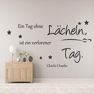 Wandtattoo-AA00-Wohnzimmer-Schlafzimmer-Zitat-Chaplin-Jeder-Tag-ohne-ein-Laecheln