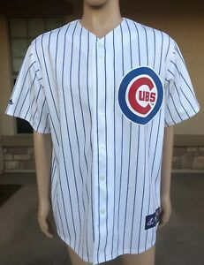3123eaa8 Image is loading NWOT-Vintage-Chicago-Cubs-Pinstripe-Jersey-Shirt-Majestic-