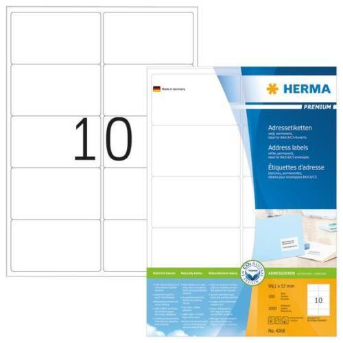 HERMA 4268 Adressetiketten Premium A4 99,1x57mm 1000 Stück selbstklebend weiß