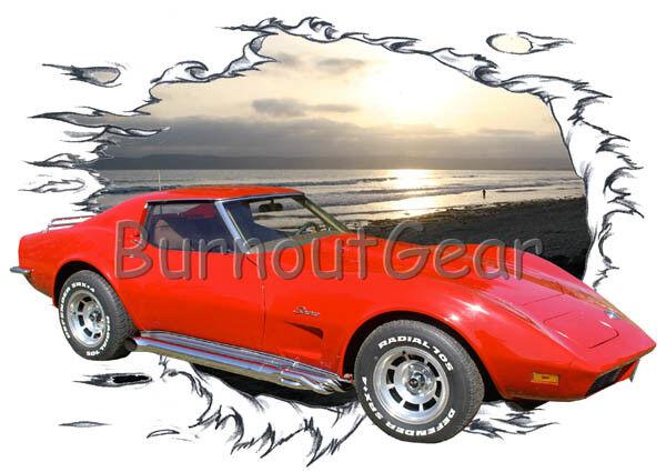 1973 ROT Chevy Corvette Custom Hot Rod Sun Set T-Shirt 73 Muscle Car Tees
