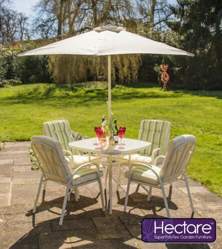 Outdoor Hadleigh 4 Seater Garden Dining Furniture Reversible Set White Hectare™