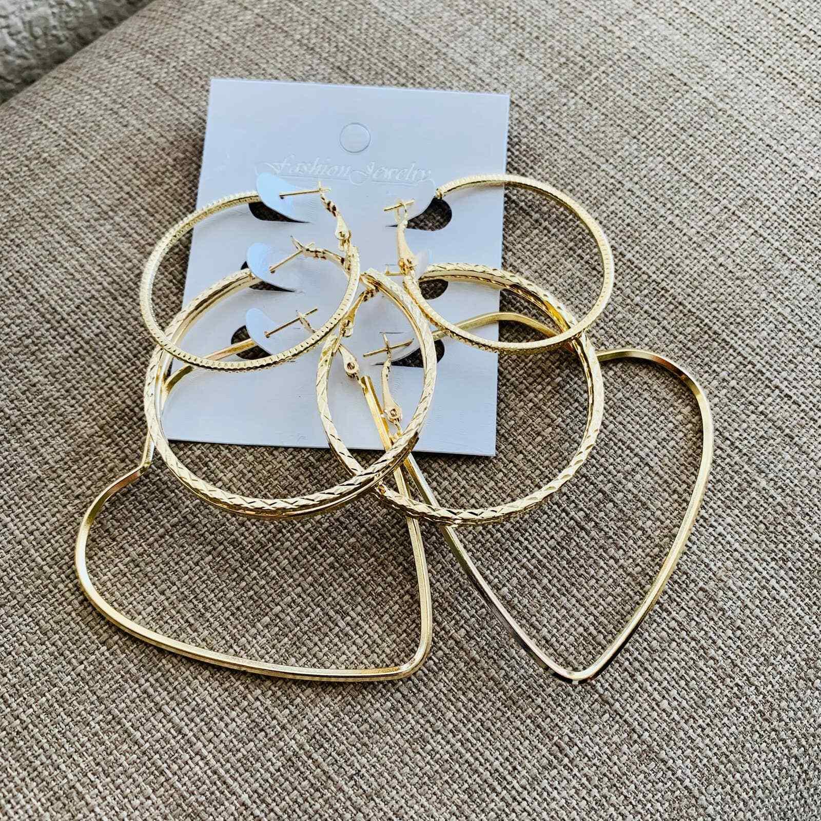 Hoop Earrings for women Trendy Gold Deco 3 Earrings set