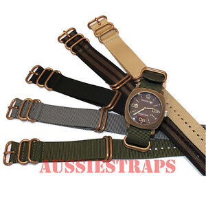 ZULU-5-Ring-Bronze-Buckle-military-diver-039-s-Nylon-watch-strap-band