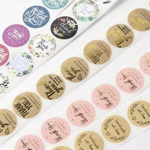 500 Pcs//Roll Handmade Thank You Stickers Wedding Birthday Party Flowers Labels