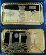 LINGOT  OR PL 999 % FRANC MACONNIQUE compas equerre pyramide RARE***