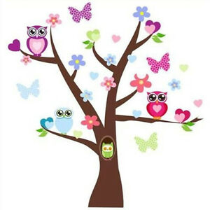 Removable Wall Decals Tree Owl Kids Bedroom Baby Nursery Stickers Art Room Decor