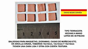 MAQUETAS-CASAS-DE-MUNECAS-DIORAMAS-AZULEJOS-BALDOSAS-TERRACOTA-MINIATURAS-48-PZ
