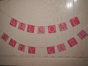 welcome baby girl banner pink baby shower sign ebay